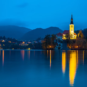 Lake Bled Chapel by Stephen Bridger - Buildings & Architecture Places of Worship ( europe, lake, chapel, travel, island, night photography, slovenia, outdoors, bled, night, night shot, travel photography, lake bled )