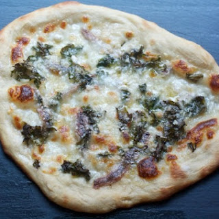 Pizza Bianca with Anchovies & Kale