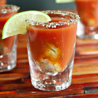 Bloody Mary Oyster Shots.