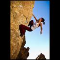 Rock climbing illustrated icon