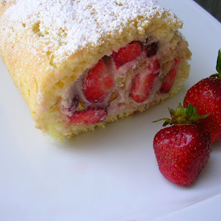 Strawberry-Ricotta Roulade with Pistachios.