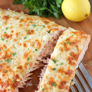 Cheesy, Onion Crusted Baked Salmon.