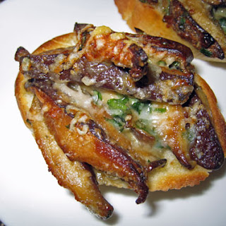 Shiitake Mushroom and Blue Cheese Crostini.