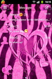 GO SMS Pink Theme Heart Zebra - screenshot thumbnail