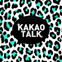 KakaoTalk主題,白色薄荷色黑色豹紋主題 icon