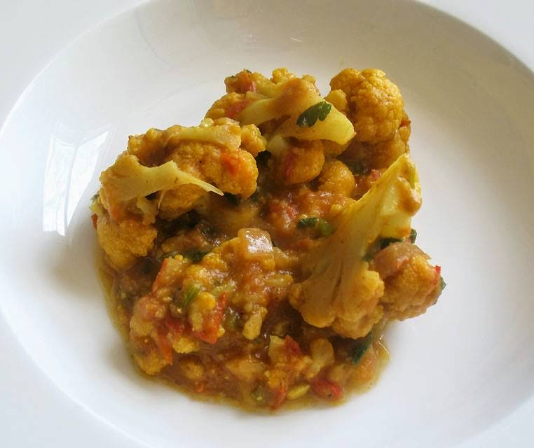 Gently Simmered Cauliflower in a Spicy Tomato Sauce Recipe