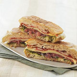 Pressed Italian Sandwich with Pesto.