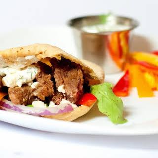 Greek Marinated Steak Gyros.