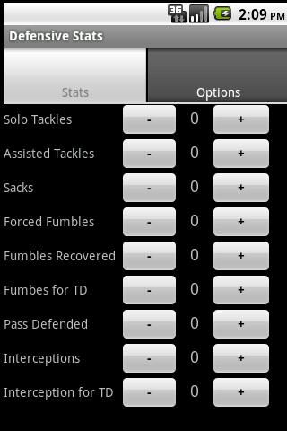 Youth Defense Football Stats - screenshot