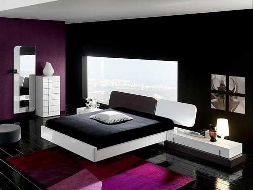 Klein Slaapkamer Idees : Black and Purple Bedroom