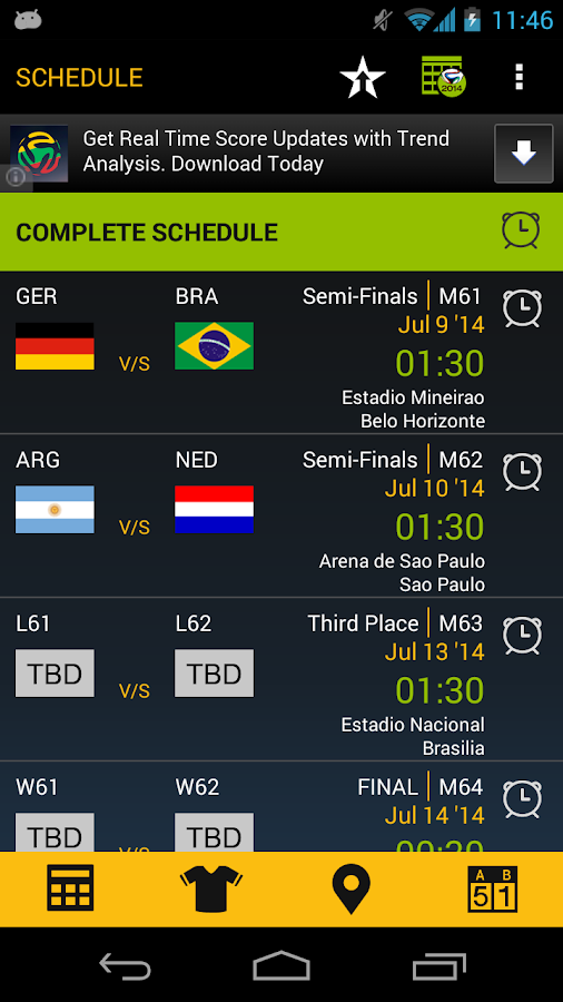 Football Schedule Brazil 2014- screenshot
