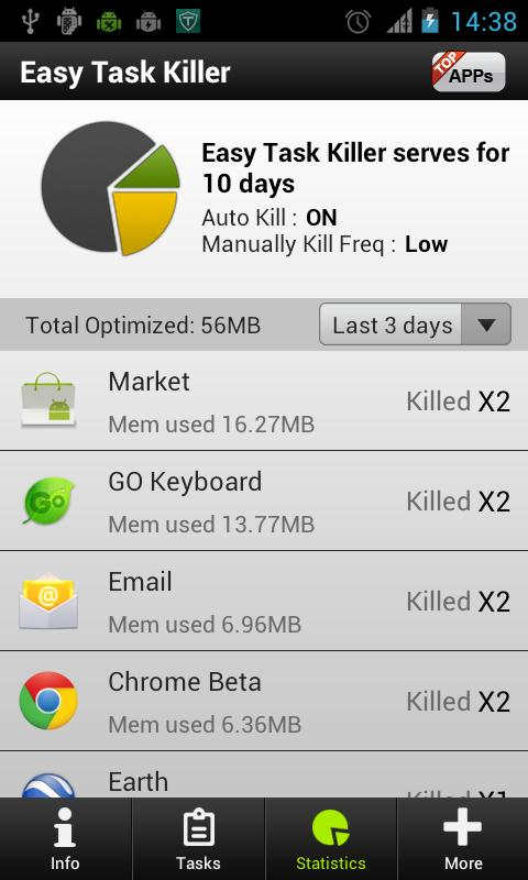 Easy Task Killer Advanced - screenshot