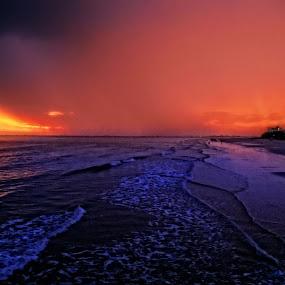 Sunset Beach by Nikki Scott - Landscapes Waterscapes ( orange, waves, sunset, ocean, beach,  )