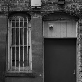 by Jordin Pierce - Buildings & Architecture Decaying & Abandoned ( old, black and white, door, architecture )