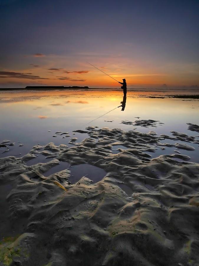Sunrise Fishing by Wei Fuk Lie - Landscapes Waterscapes ( nusa dua, bali, sunrise, fishing )