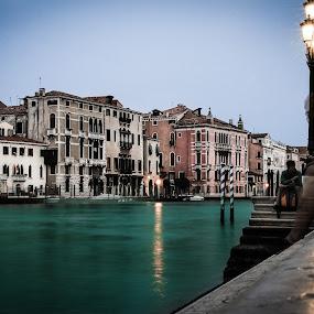 Blue grand canal by Camelia Cami - City,  Street & Park  Night ( grand canal, venice, night, travel, light, city )