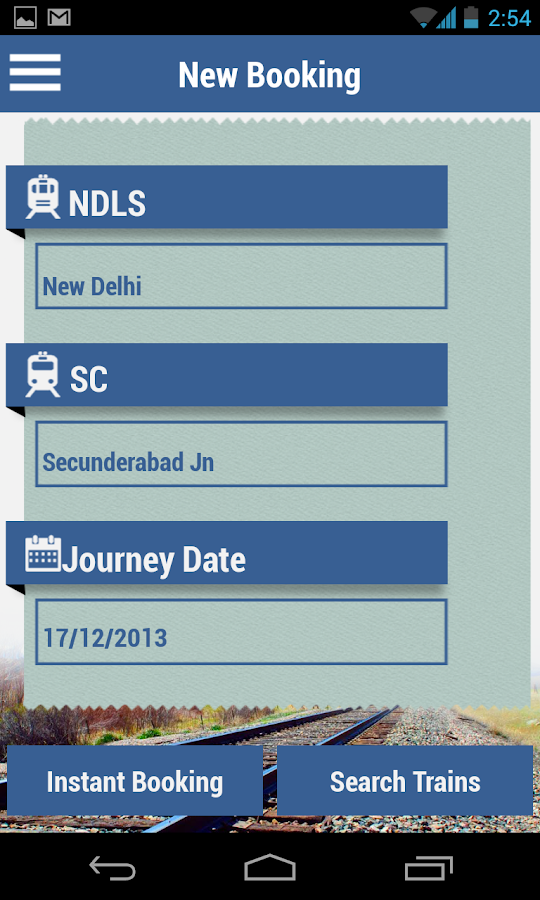 IRCTC SMS Booking - screenshot