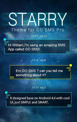 GO SMS PRO STARRY II THEME