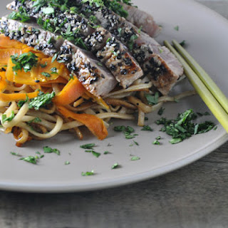 Sesame-Crusted Tuna on a Bed of Udon Noodles