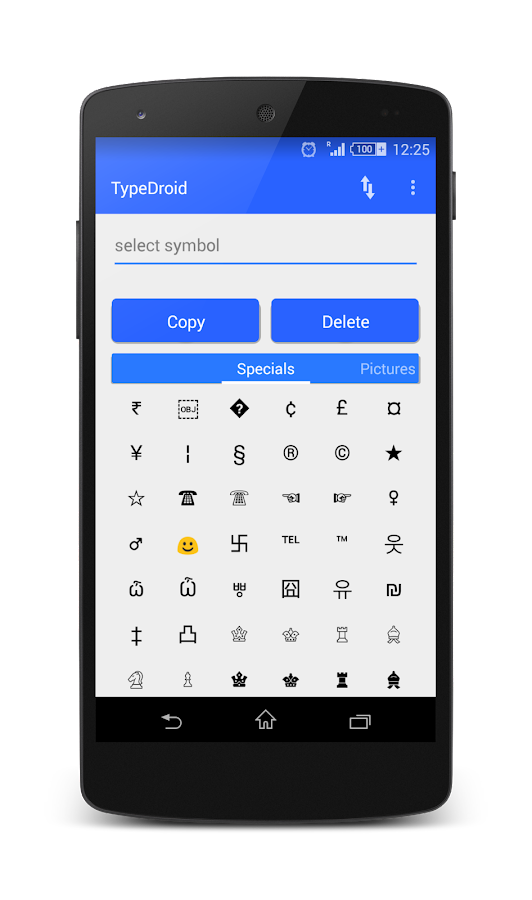 Type Droid (1000+ symbols)- screenshot