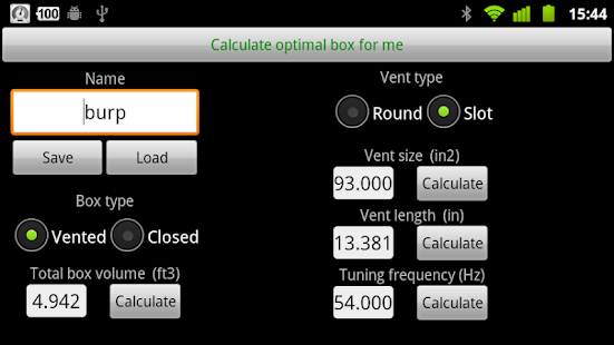 Woofer Box Calculator - screenshot thumbnail