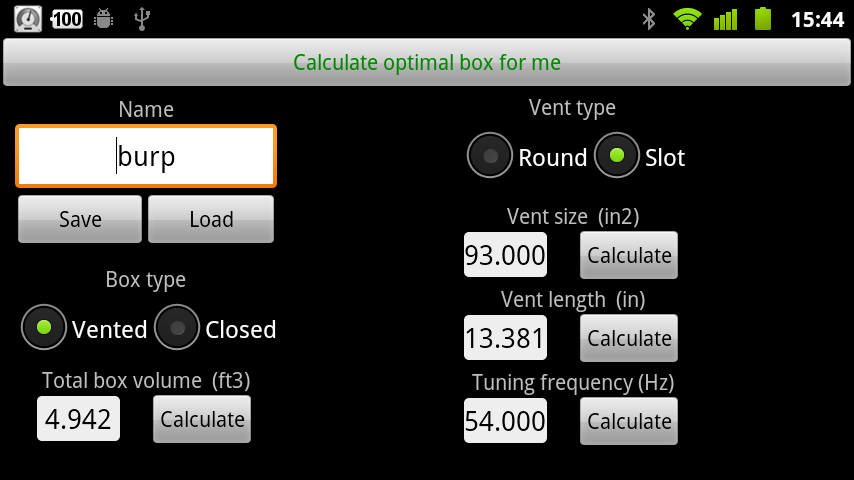 Woofer Box Calculator - screenshot