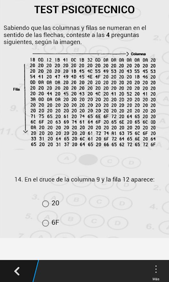 Teste para exame psicotecnico