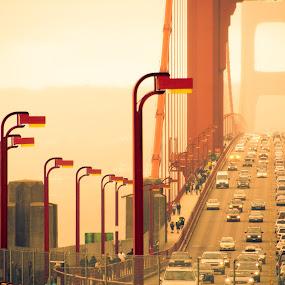 Golden Gate Bridge by Johannes Schaffert - Transportation Other ( traffic, fog, cars, california, travel, transportation, usa, san francisco )