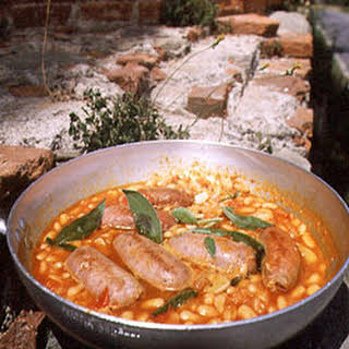 White Beans in Herbed Tomato Sauce with Fresh Sausages.