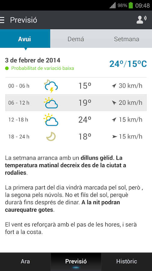tumeteo BCN- screenshot