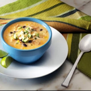 Slow Cooker Spicy Creamy Chicken Tortilla Soup.