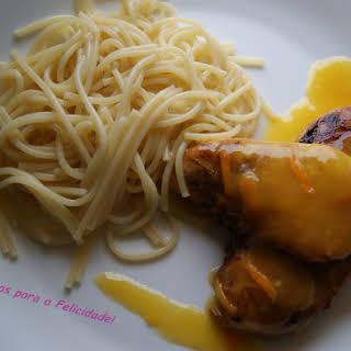 Grilled Chicken Breasts Flavoured with Orange Cream.