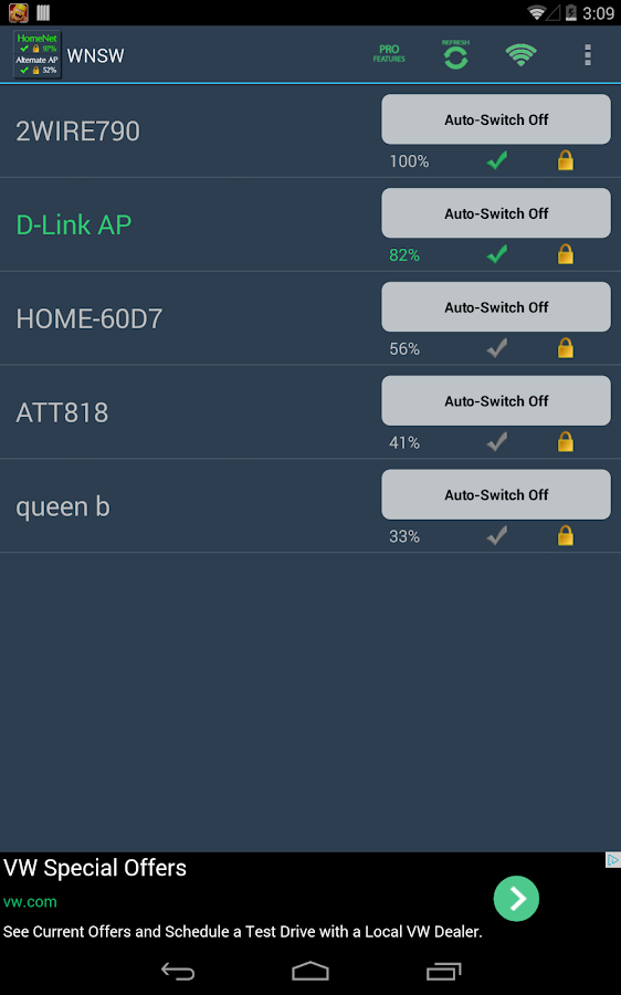 A Wifi Network Switcher Widget - screenshot