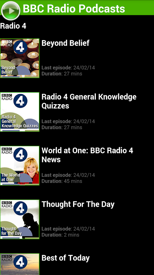 BBC Radio Podcasts - screenshot