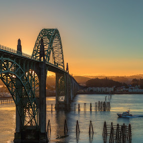 Yaquina Bay Bridge by Zach Blackwood - Buildings & Architecture Bridges & Suspended Structures ( oregon, yaquina bay, newport, bridge, boat, cost guard, coast )
