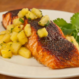 Southwestern Maple Glazed Salmon with Pineapple Salsa.