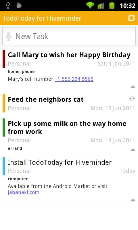 TodoToday for Hiveminder - screenshot