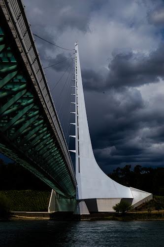 Sun Dial Bridge 3 by Scott Morgan - Buildings & Architecture Bridges & Suspended Structures ( sundial, clouds, functioning, california, redding, white, bridge, storm, angle,  )