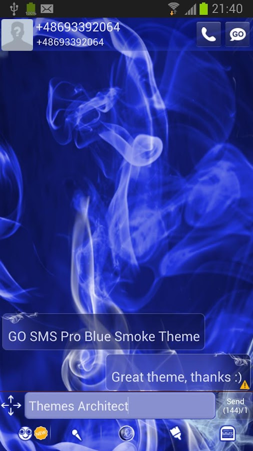 GO SMS Pro Blue Smoke Theme - screenshot
