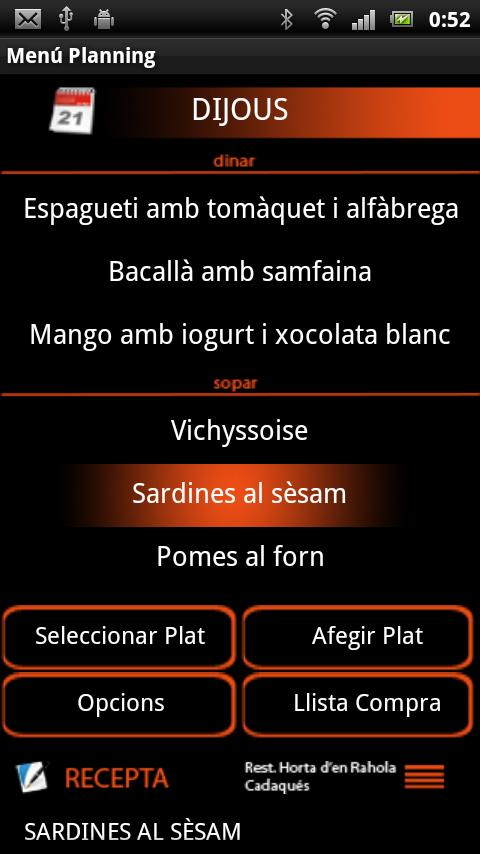 Menú Planning (Català) - screenshot