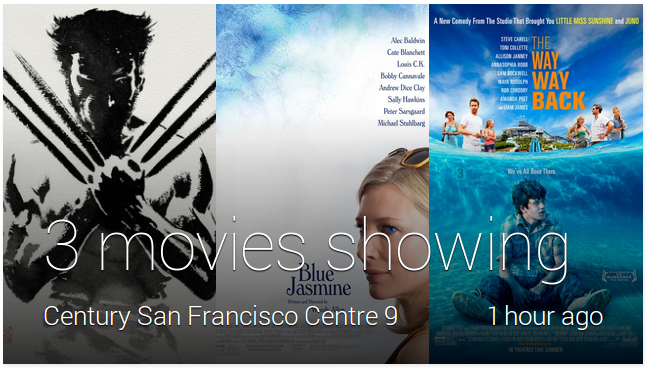 Sample movies in a Google Now card