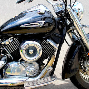 Classic Bike by Ronnie Caplan - Transportation Motorcycles ( logo, engine, seat, chrome, handlebars, motorcycle, reflections, black,  )