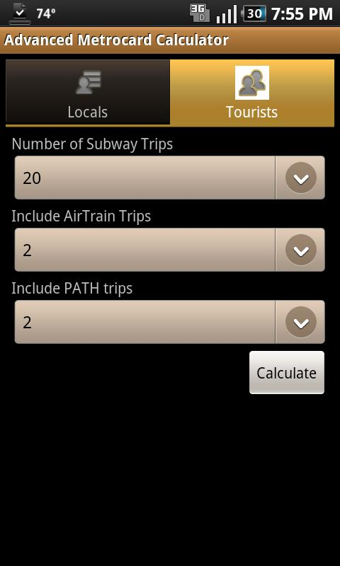 Advanced Metrocard Calculator - screenshot