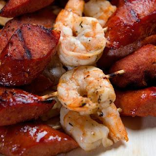 Sweet Shrimp and Spicy Sausage Skewers.