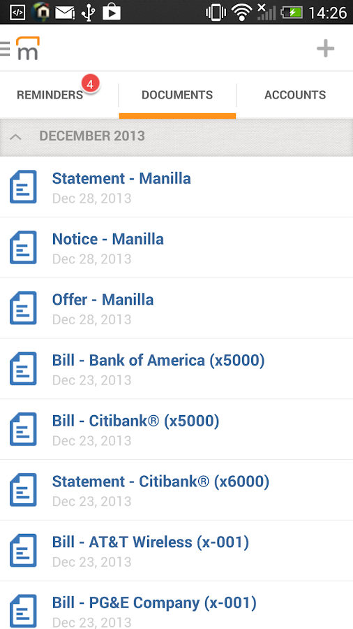 Manilla - Bills and Reminders - screenshot