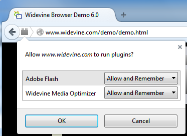 Screenshot of plugin security dialog