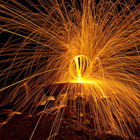 Hodge Close Woolly 23-03-14 by Mark Airey - Abstract Light Painting ( quarry, light painting, orb, cumbria, night photography, steel wool, d7000, nikon, sparks, hodge close, lake district )