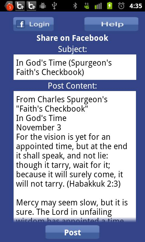 Faith's Checkbook Devotional - screenshot