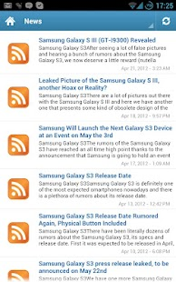 Samsung Galaxy S3 News - screenshot thumbnail