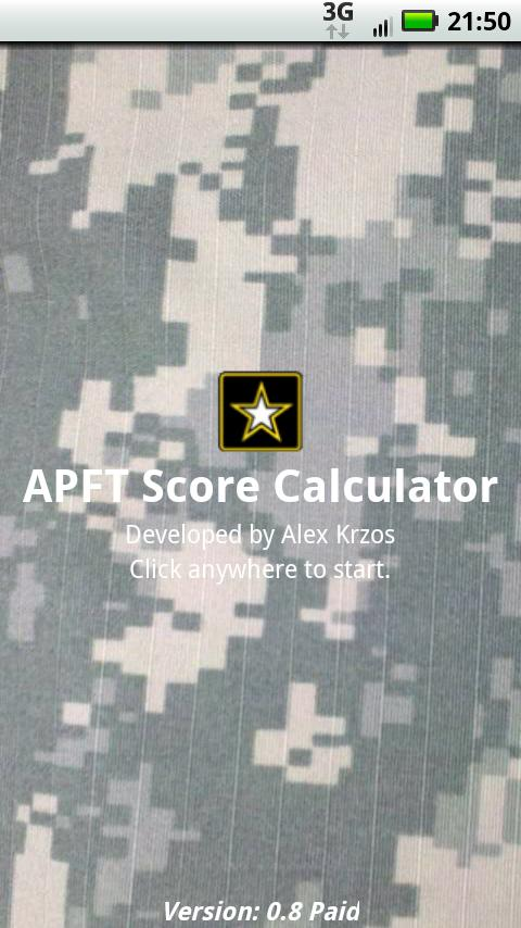 APFT Calc w/ Score Log ad-free - Android Apps on Google Play